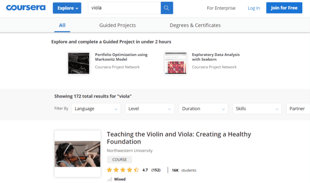 Coursera Learn Viola Lessons Online