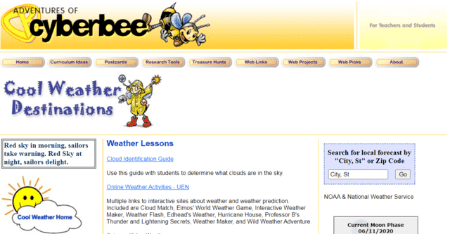 cyberbee learn weather lessons online