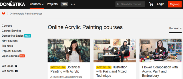 domestika learn acrylic painting lessons online