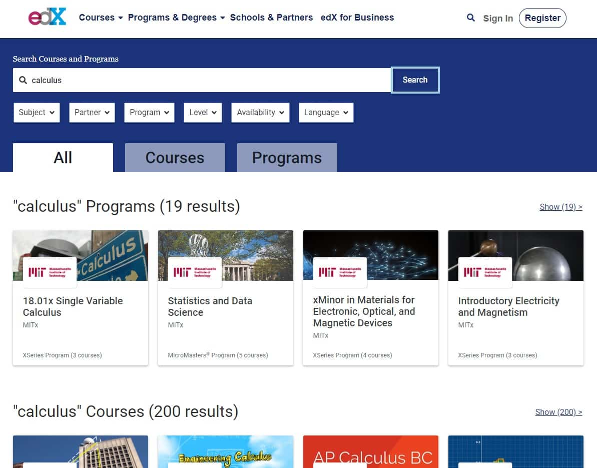 edx learn calculus lessons online