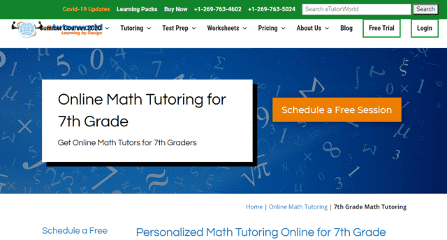Etutorworld Learn 7th Grade Math Lessons Online