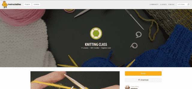 instructables learn knitting lessons online