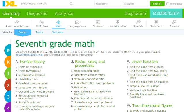 IXL Learn 7th Grade Math Lessons Online
