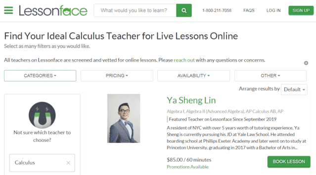 lessonface learn calculus lessons online