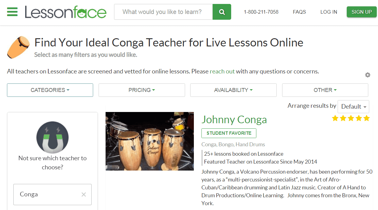 Lessonface Learn Conga Lessons Online