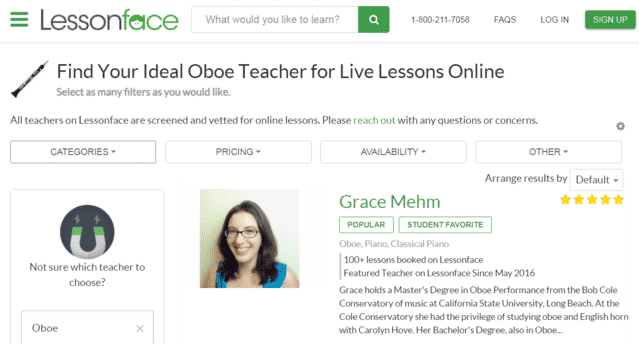 Lessonface Learn Oboe Lessons Online
