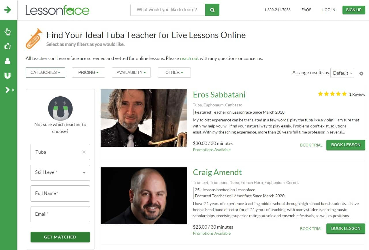 lessonface learn tuba lessons online