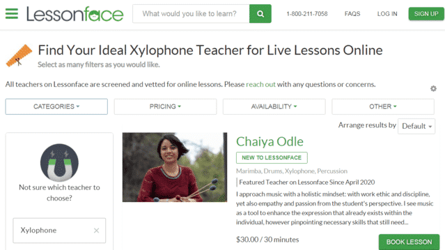 lessonface learn xylophone lessons online