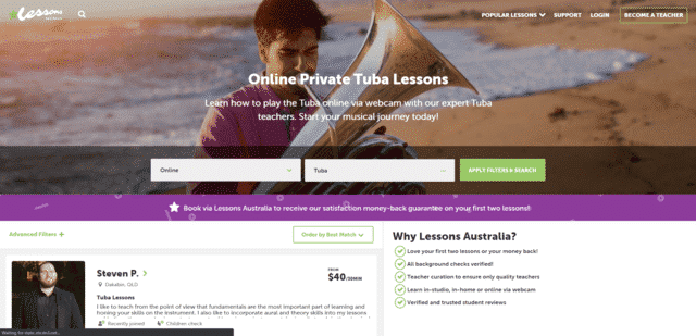 lessonsaustralia learn tuba lessons online