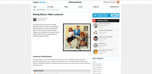 lovetoknow learn swing dance lessons online