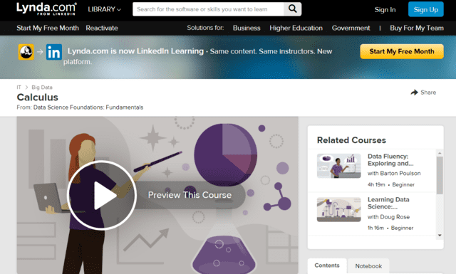 lynda learn calculus lessons online