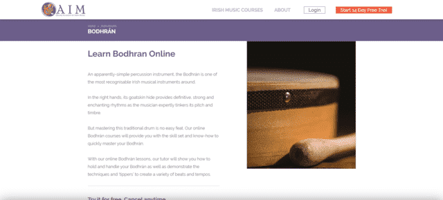 oaim learn bodhran lessons online