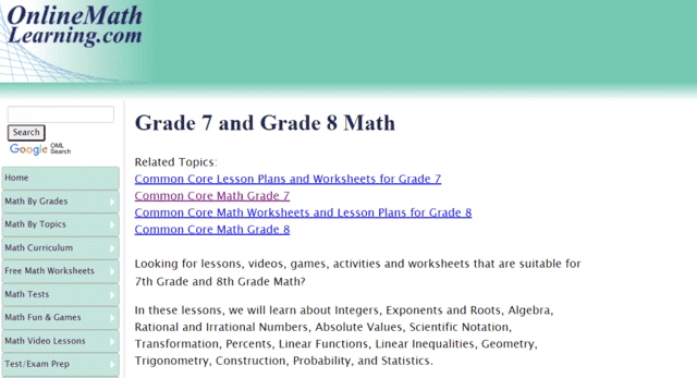 Onlinemathlearning Learn 7th Grade Math Lessons Online