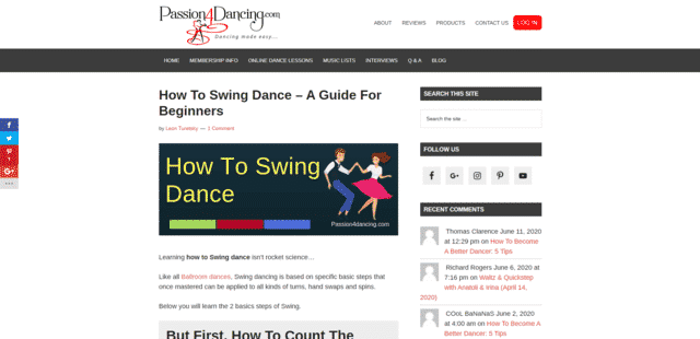 passion4dancing learn swing dance lessons online