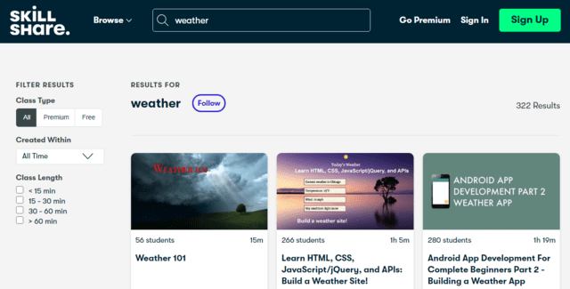 skillshare learn weather lessons online