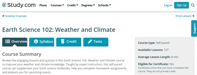 study learn weather lessons online