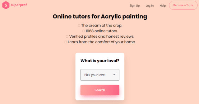 superprof learn acrylic painting lessons online