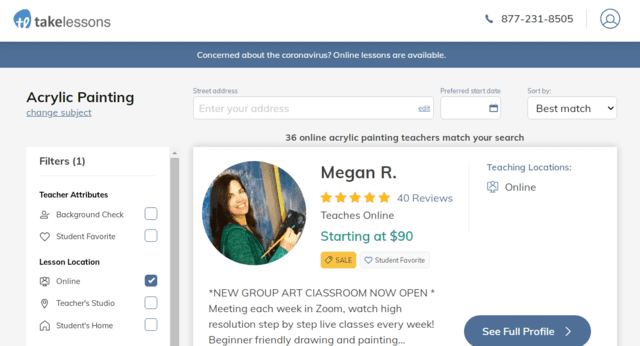 takelessons learn acrylic painting lessons online