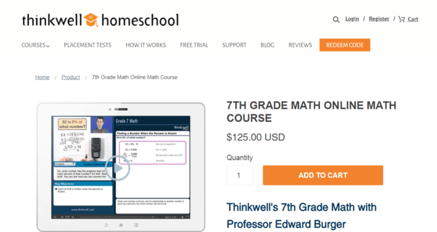 Thinkwellhomeschool Learn 7th Grade Math Lessons Online