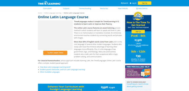 time4learning learn latin lessons online