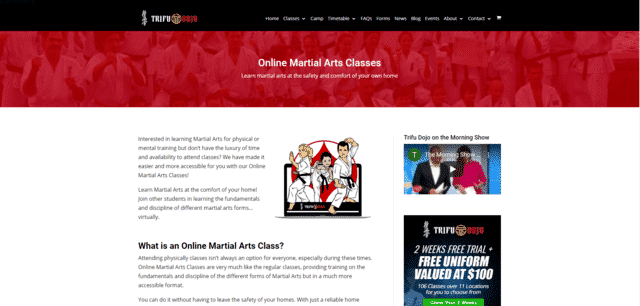 trifudojo learn martial arts lessons online