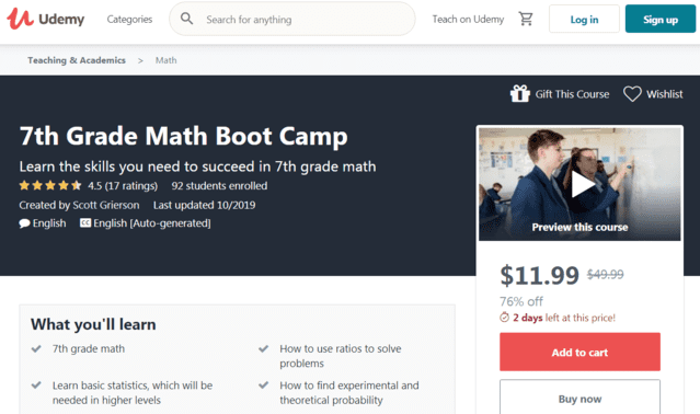 Udemy Learn 7th-Grade Math Lessons Online