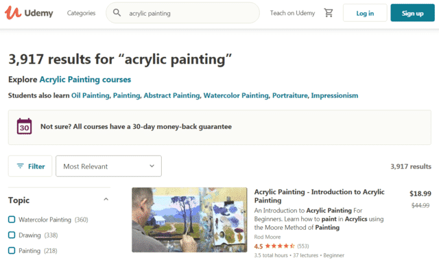 udemy learn acrylic painting lessons online