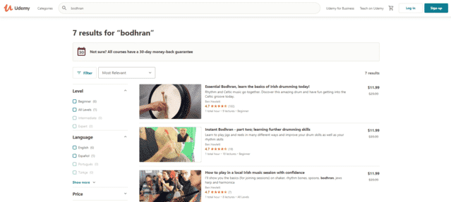 udemy learn bodhran lessons online