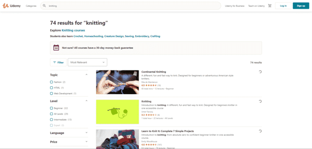 udemy learn knitting lessons online