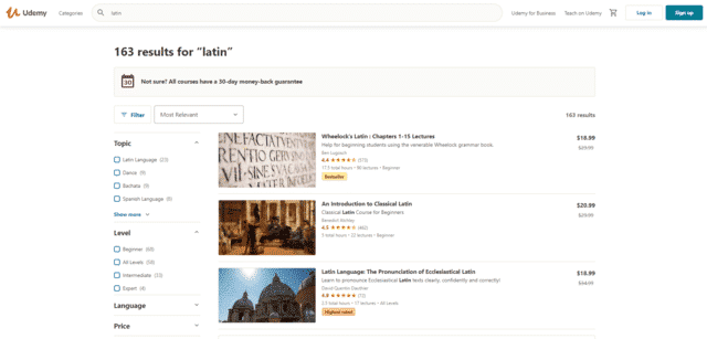 udemy learn latin lessons online