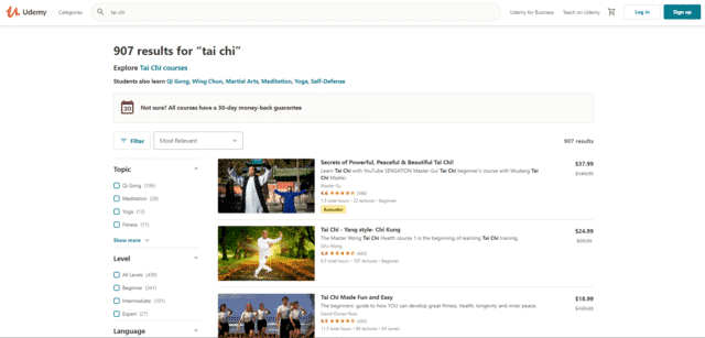 udemy learn tai chi lessons online
