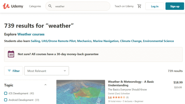 udemy learn weather lessons online