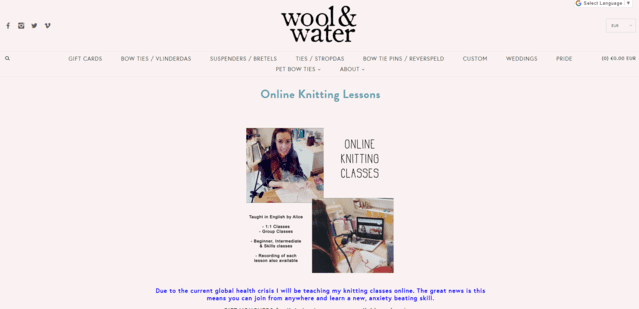 woolandwater learn knitting lessons online