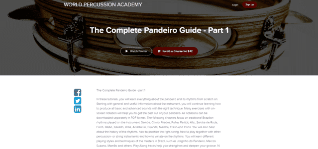 worldpercussion learn pandeiro lessons online