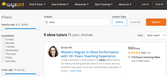 Wyzant Learn Oboe Lessons Online