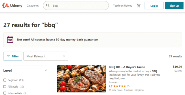 udemy learn bbq lessons online