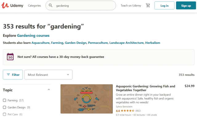 udemy learn gardening lessons online