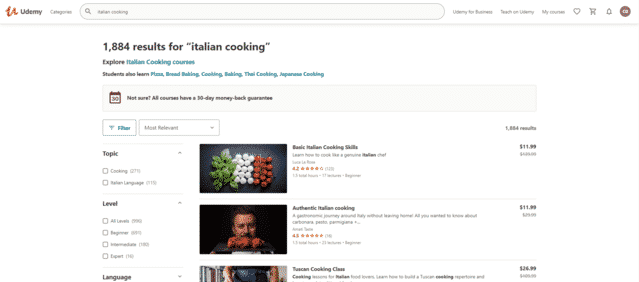 udemy learn italian cooking lessons online