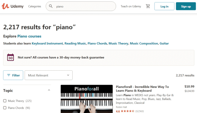 udemy learn piano lessons online