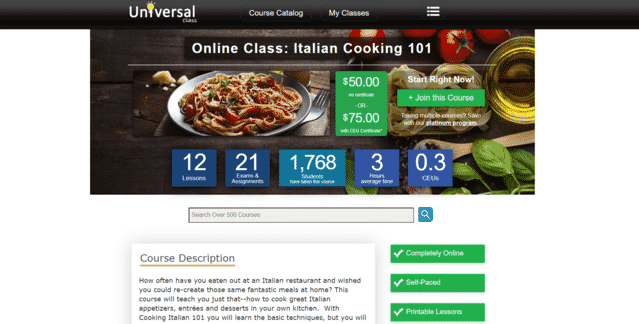 universalclass learn italian cooking lessons online