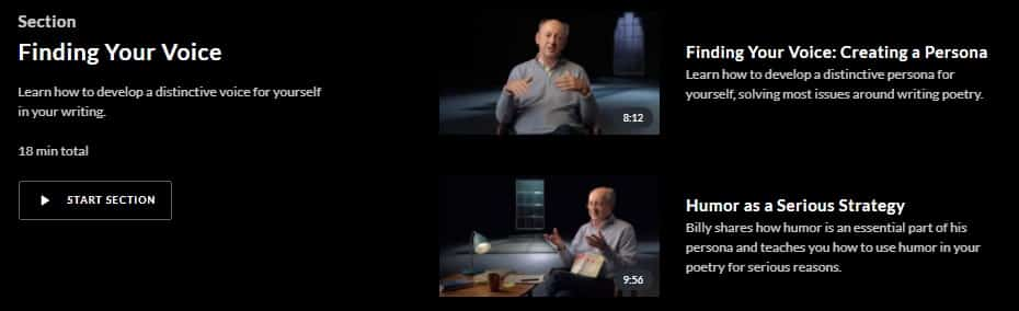MasterClass Billy Collins Finding Voice
