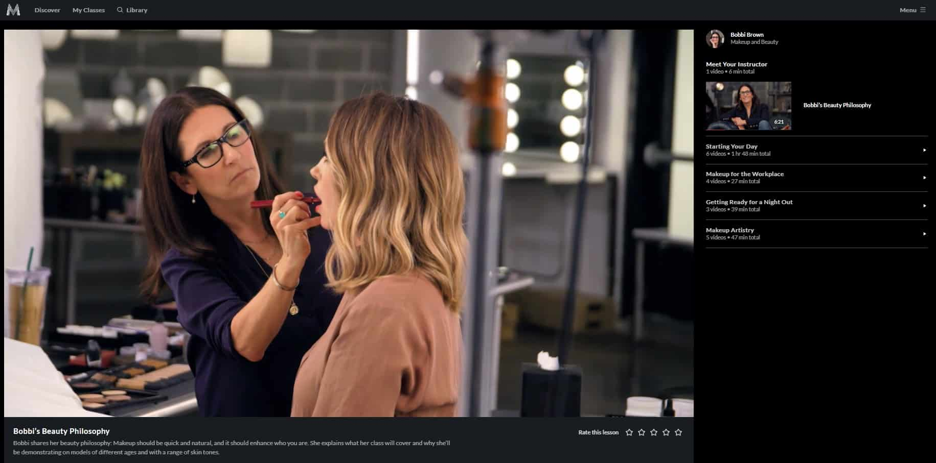 MasterClass Bobbi Brown Class Sections
