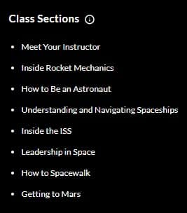 MasterClass Chris Hadfield Class Sections