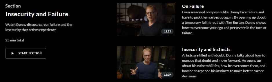 MasterClass Danny Elfman Insecurity and Failure