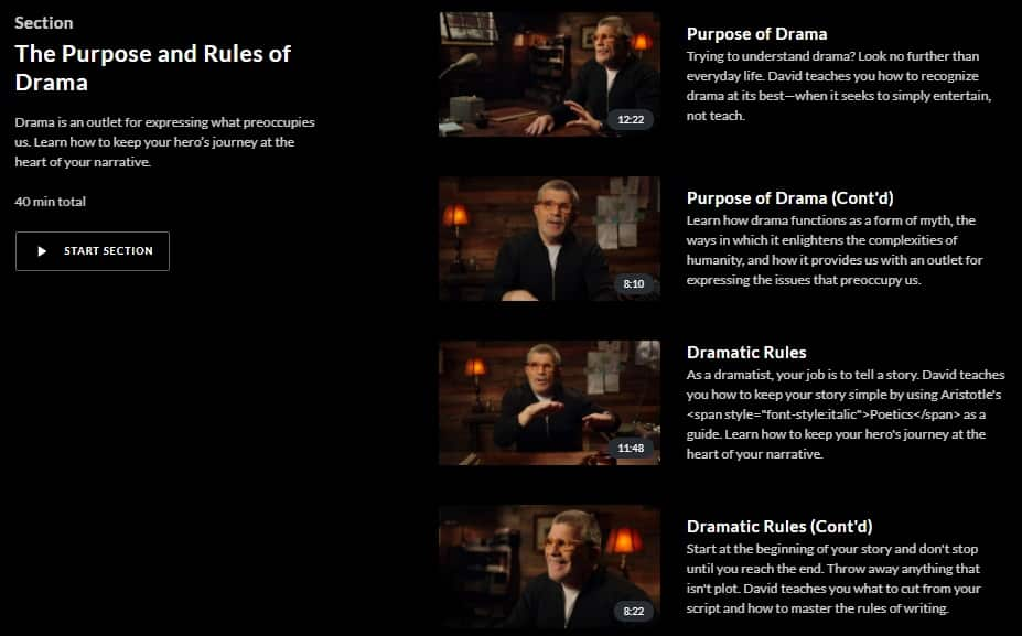 MasterClass David Mamet Purpose and Rules of Drama