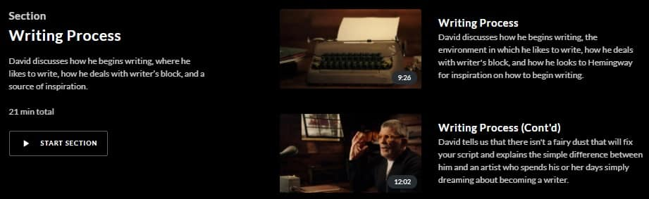 MasterClass David Mamet Writing Process