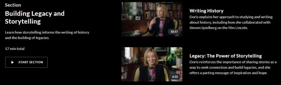 MasterClass Doris Kearns Goodwin Building Legacy and Storytelling