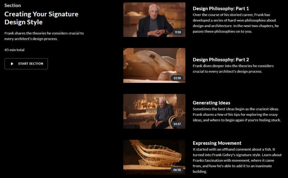 MasterClass Frank Gehry Creating Signature Design Style
