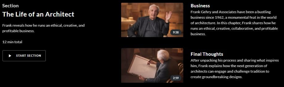 MasterClass Frank Gehry Life of Architect