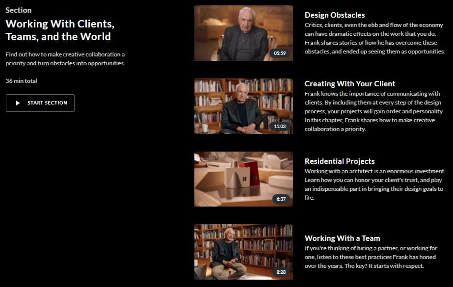 MasterClass Frank Gehry Working With Clients, Teams, and the World